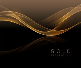Interlaced abstract shiny golden wavy background vector