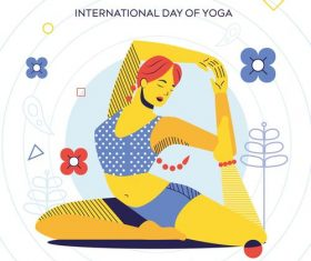 International day of yoga cartoon illustration vector