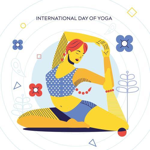 International day of yoga cartoon illustration vector
