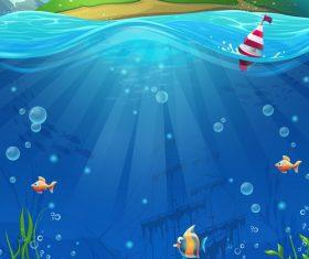 Island and deep sea treasure vector