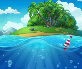 Island cartoon vector