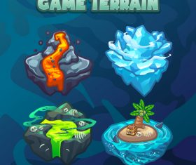 Island game terrain icon vector
