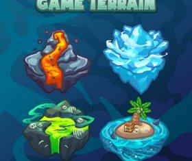 Island game terrain icon vector