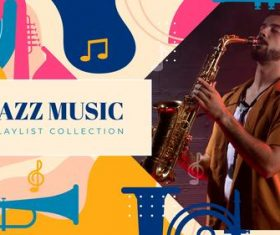 Jazz music youtube template vector