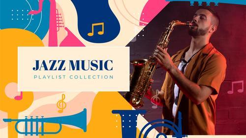Jazz music youtube template vector