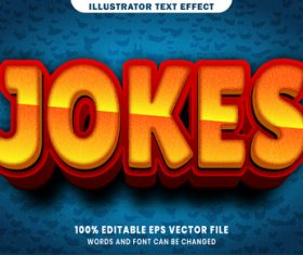 Jokes 3d editable text style effect vector