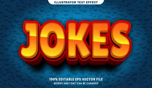 Jokes 3d editable text style effect vector