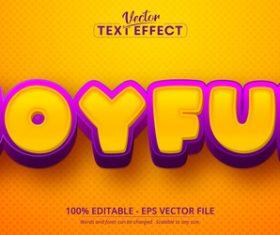 Joyful font 3d editable text style effect vector