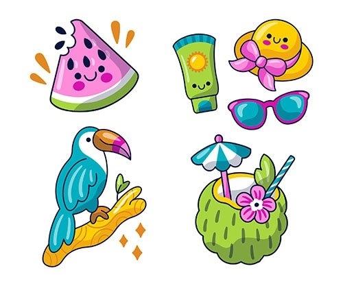 Kawaii summer stickers pack vector