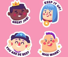 Keep it up sticker cartoon collection vector