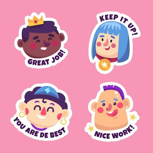 Keep it up sticker cartoon collection vector
