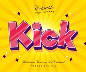 Kick font 3d editable font text effect vector