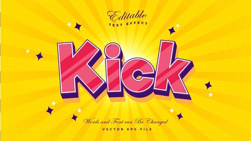 Kick font 3d editable font text effect vector