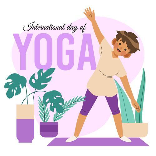 Kids Yoga Cartoon Illustration Vector