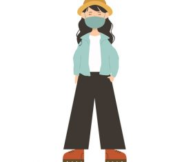 Korean girl wearing mask vector
