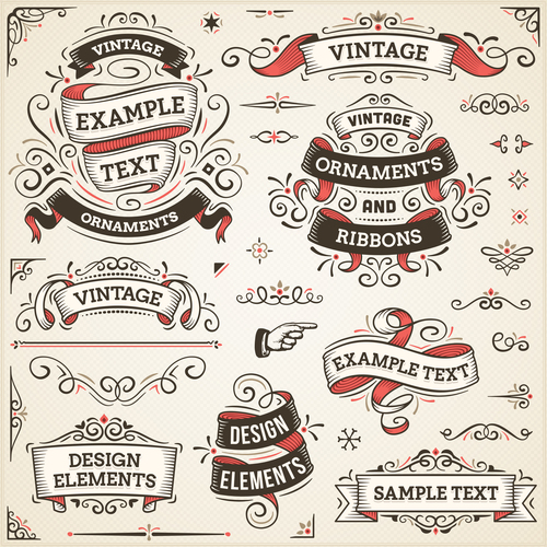 Labels ribbons and stickers in vector