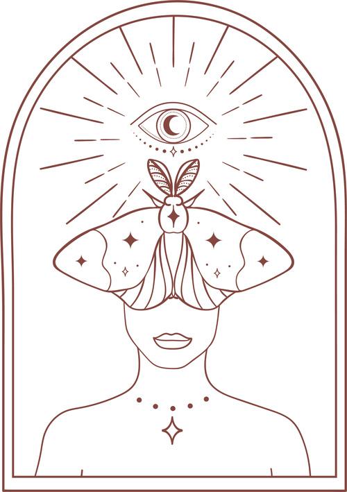 Lady luna design elements vector