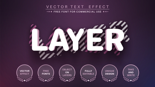 Layer 3d editable text style effect vector