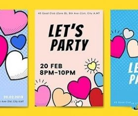 Lets party hearts background vectors