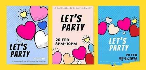 Lets party hearts background vectors