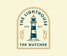 Lighthouse badge logo design vector