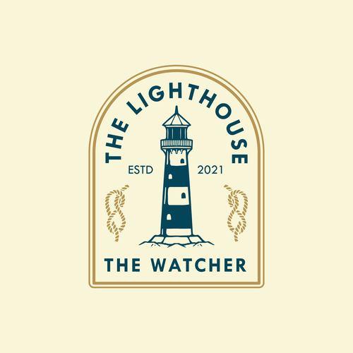 Lighthouse badge logo design vector