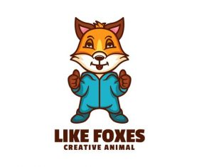 Like foxes mascot icon design vector
