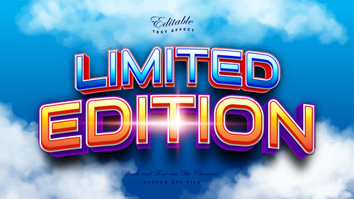 Limited edition 3d editable font text effect vector