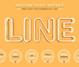 Line 3d editable text style effect vector