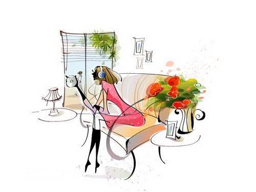 Listening music illustration vector