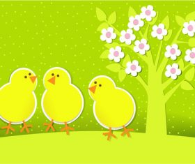 Little chicken cartoon illustration vector under big tree