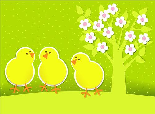 Little chicken cartoon illustration vector under big tree