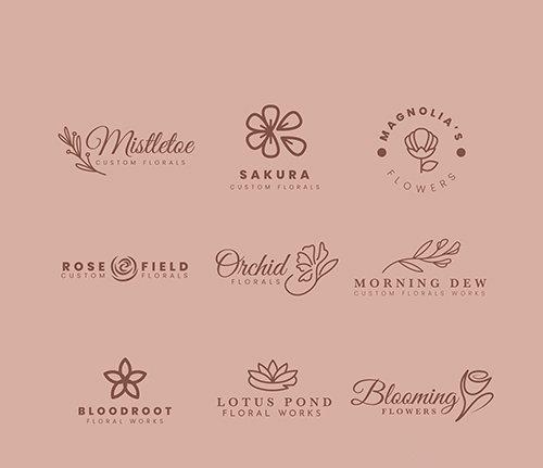Logo collection for wedding florist vector