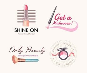 Logo design with makeup concept for branding and marketing vector