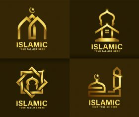 Logo golden mosque vector