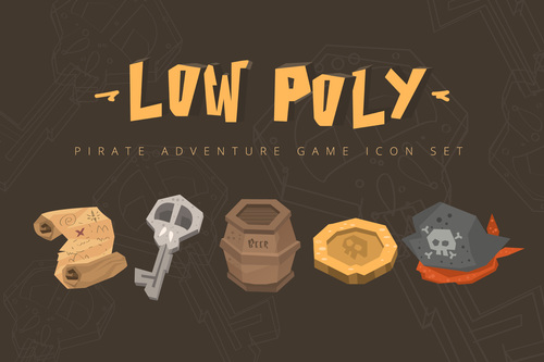 Low poly pirate icon vector