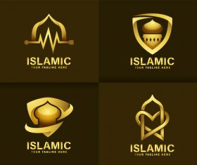 Luxurious golden mosque logo vector