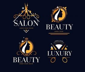 Luxury hair salon logo collection vector