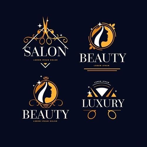 Luxury hair salon logo collection vector