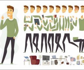 Male character constructor cartoon vector