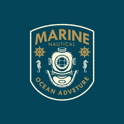 Marine nautical badge logo design vector