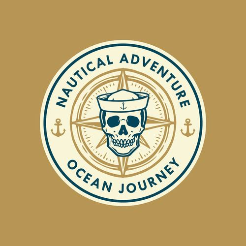 Marine skull logo design vector