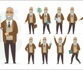 Mathematics professor cartoon vector