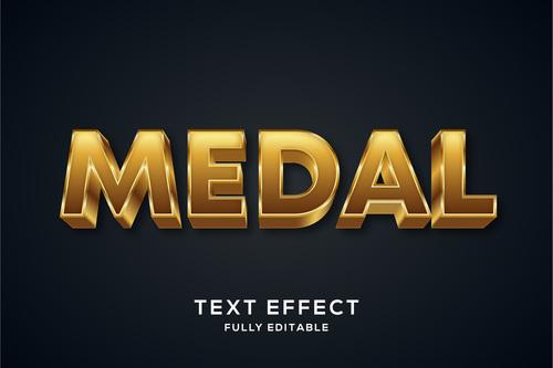 Medal 3d editable text style effect vector