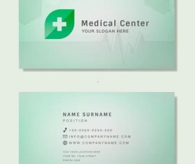 Medical center business card vector