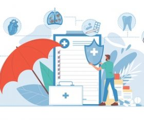 Medical information feedback cartoon illustration vector