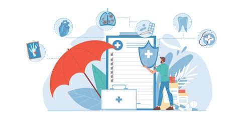 Medical information feedback cartoon illustration vector