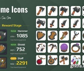 Medieval equipment for games vector
