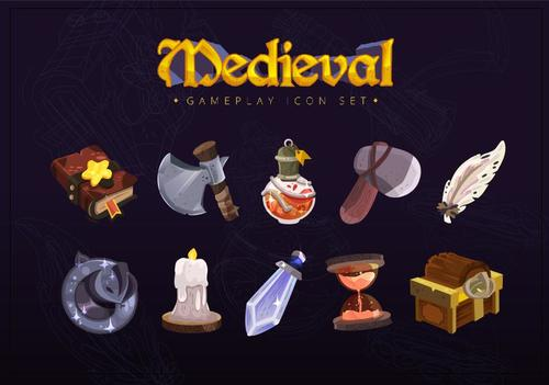 Medieval gameplay icon set vector