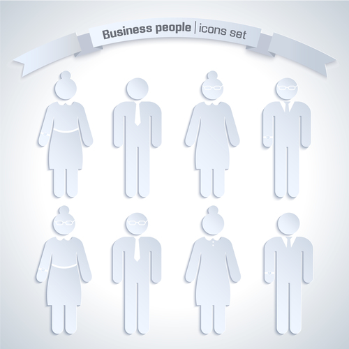 Men and women business paper cut characters vector